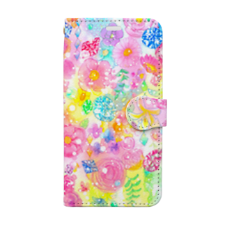 Coffret à bijouxの宝石と花のスマートフォンケース Book-style smartphone case