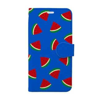 スイカいっぱい Book-style smartphone case