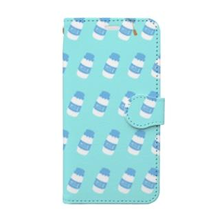 牛乳瓶総柄 Book-style smartphone case
