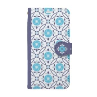 マジョリカタイル_フラワー Book-style smartphone case
