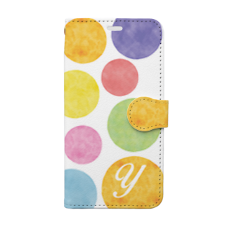 Ploughの7カラー水玉 イニシャルY Book-style smartphone case