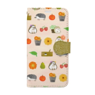 hedgehog garden(milky pink) Book-style smartphone case