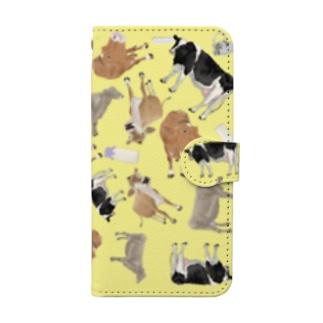 乳牛いっぱい🐄きいろ Book-style smartphone case