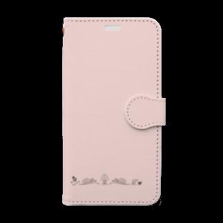 sonoteniのアルファベット イニシャル ボタニカル ピンク A #129 Book-style smartphone case