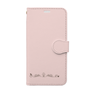 sonoteniのアルファベット イニシャル ボタニカル ピンク T #148 Book-style smartphone case