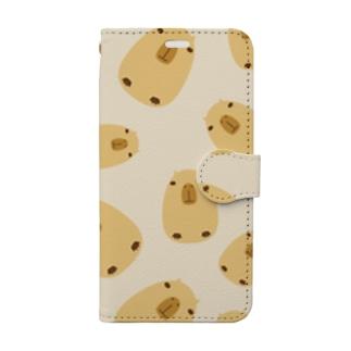 カピバラいっぱい Book-style smartphone case