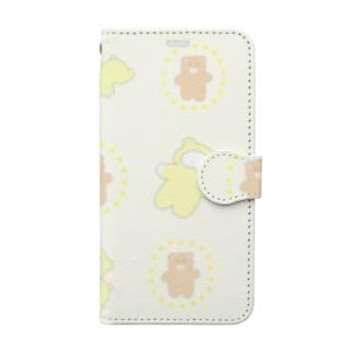 くまと黄色のワヌちゃん 手帳型スマートフォンケース