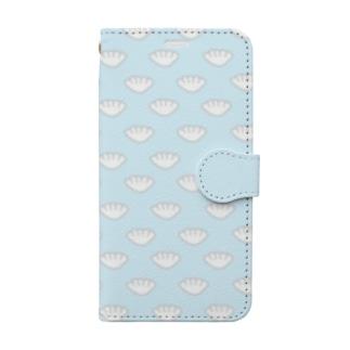 手帳型スマートフォンケース・餃子/ パステルブルー Book-style smartphone case