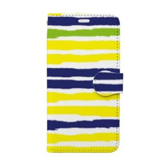 ボーダー 黄・紺・緑 Book-style smartphone case