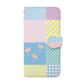 NONticのパステルパッチワーク Book style smartphone case