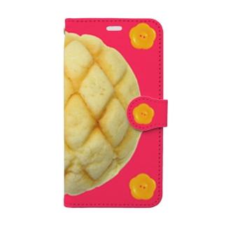 メロンパンと花ボタン iPhoneXS/S用 Book-style smartphone case
