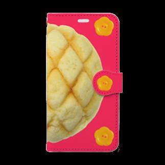 Pop-Hanaのメロンパンと花ボタン iPhoneXS/S用 Book-style smartphone case