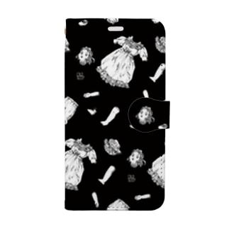 バラバラドール2-モノクロ Book-style smartphone case