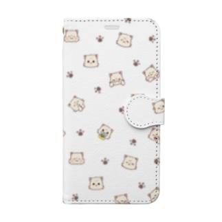 みけんねこ総柄 Book-style smartphone case