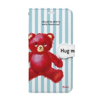 【Hug me】(赤くま)iPhone X/XS用 Book-style smartphone case