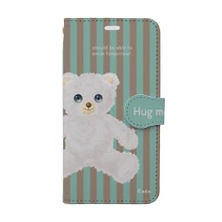 【Hug me】(白くま)iPhone X/XS用 Book-style smartphone case