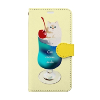 Cat cream soda ! Book-style smartphone case