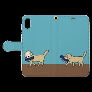 efrinmanの師匠と弟子(ブルー) Book style smartphone caseを開いた場合(外側)