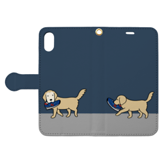 efrinmanの師匠と弟子(ネイビー) Book-style smartphone caseを開いた場合(外側)