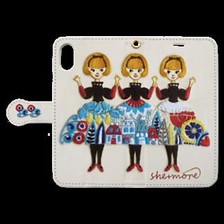 シーモア(she+more)の (iphone)「しーちゃんず」とご一緒に。 Book-style smartphone caseを開いた場合(外側)