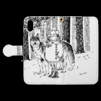 kameのハスキーくん Book style smartphone caseを開いた場合(外側)