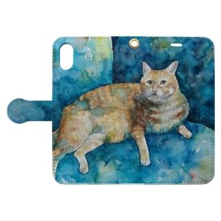 にゃんたろす 水彩 Book-style smartphone case
