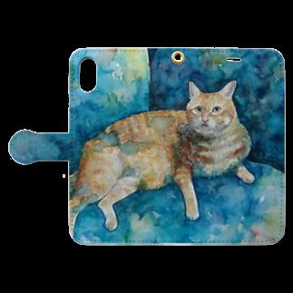 にゃべしっのにゃんたろす 水彩 Book-style smartphone caseを開いた場合(外側)