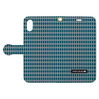 アーガイル(青/グレイ) Book style smartphone case