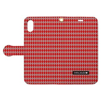 アーガイル(赤/グレイ) Book style smartphone case