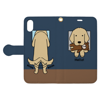 efrinmanのハロー!(ネイビー) Book style smartphone caseを開いた場合(外側)