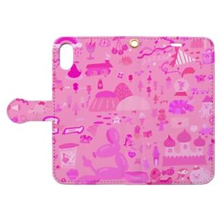 ピンクワールド Book style smartphone case