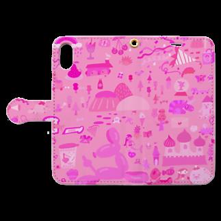 cocoliyのピンクワールド Book style smartphone caseを開いた場合(外側)