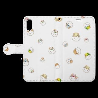 mizukiとねじゅみのねじゅみ×ひつじ ミニ Book style smartphone caseを開いた場合(外側)