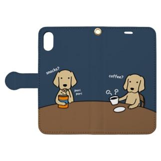 コーヒー&スナック(ネイビー) Book-style smartphone case