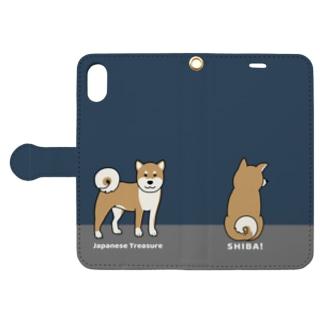 shiba1&2(ネイビー) Book style smartphone case