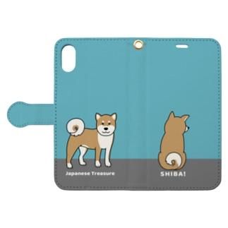 shiba1&2(ブルー) Book style smartphone case