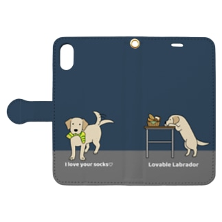 labradorイエロー(ネイビー) Book style smartphone case
