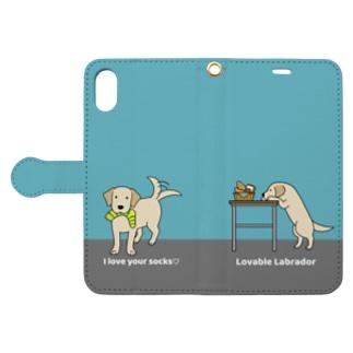 labradorイエロー(ブルー) Book-style smartphone case