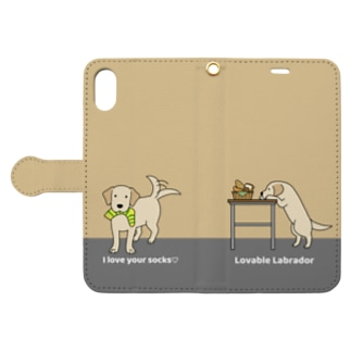 labradorイエロー(イエロー) Book-style smartphone case