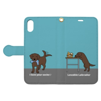 labradorチョコ(ブルー) Book-style smartphone case