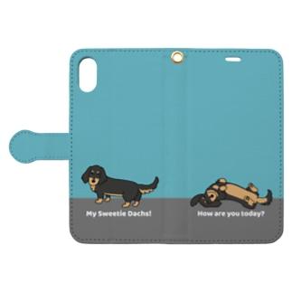 ダックスブラックタン(ブルー) Book style smartphone case