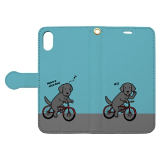 bicycleラブ 黒(ブルー) Book-style smartphone case