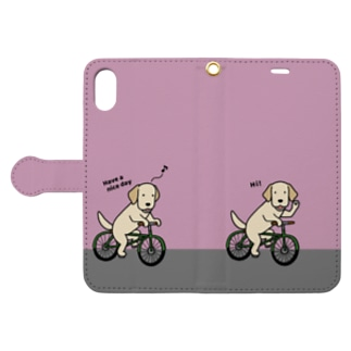 bicycleラブ イエロー(ピンク) Book-style smartphone case