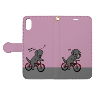 bicycleラブ 黒(ピンク) Book-style smartphone case