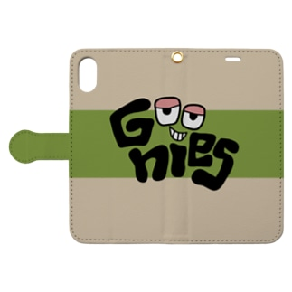 Goonies カーキロゴX-XS用 Book-style smartphone case