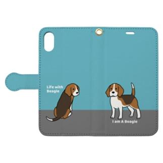 ビーグル(ブルー) Book-style smartphone case