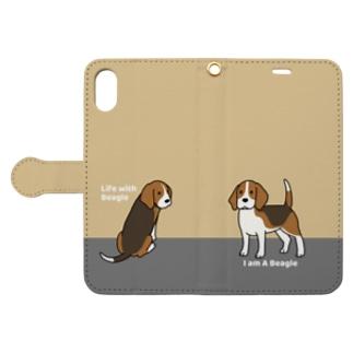 ビーグル(イエロー) Book-style smartphone case