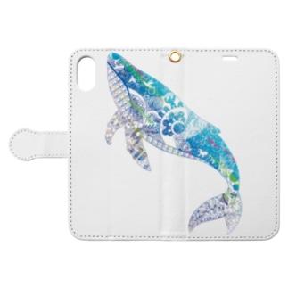 クジラの切り絵 Book-style smartphone case