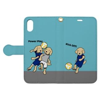 サッカー(ブルー) Book-style smartphone case
