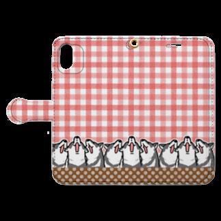 真希ナルセ(マキナル)の手帳型スマホケース(歌う黒柴) Book-style smartphone caseを開いた場合(外側)